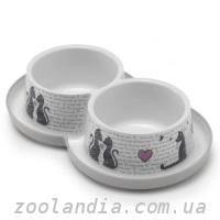Moderna Double Trendy Dinner cats in love миска двойная...